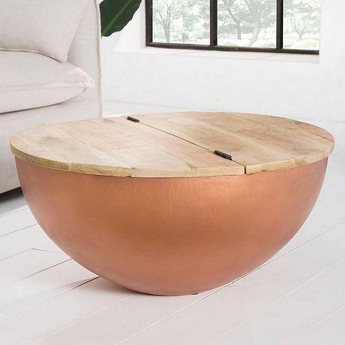 Industriedesign Couchtisch PULIM Natur aus Mangoholz und Metallkorpus Kupfer 70cm Ø - 2