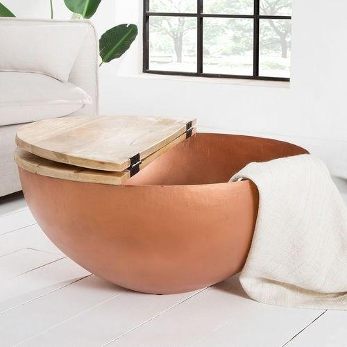 Industriedesign Couchtisch PULIM Natur aus Mangoholz und Metallkorpus Kupfer 70cm Ø - 3