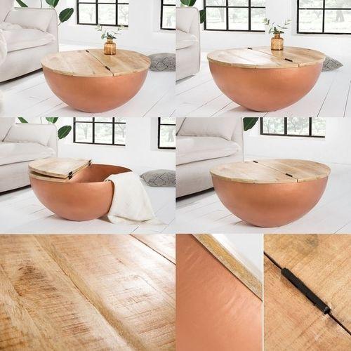 Industriedesign Couchtisch PULIM Natur aus Mangoholz und Metallkorpus Kupfer 70cm Ø - 5