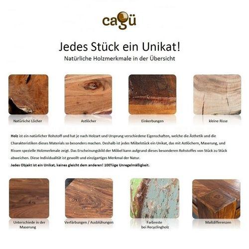 Industriedesign Couchtisch PULIM Natur aus Mangoholz und Metallkorpus Kupfer 70cm Ø - 7
