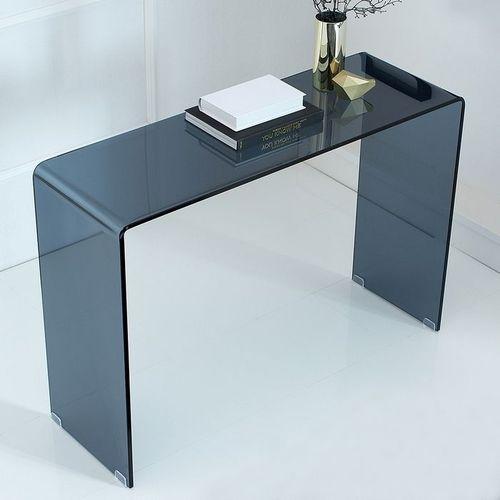 Glas-Schreibtisch MAYFAIR Anthrazit transparent aus einem Guss 100cm x 35cm - 1
