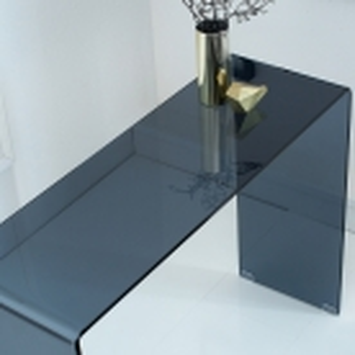 Glas-Schreibtisch MAYFAIR Anthrazit transparent aus einem Guss 100cm x 35cm - 3