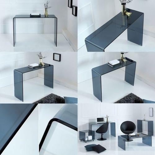 Glas-Schreibtisch MAYFAIR Anthrazit transparent aus einem Guss 100cm x 35cm - 5