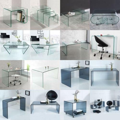 Glas-Schreibtisch MAYFAIR Anthrazit transparent aus einem Guss 100cm x 35cm - 6