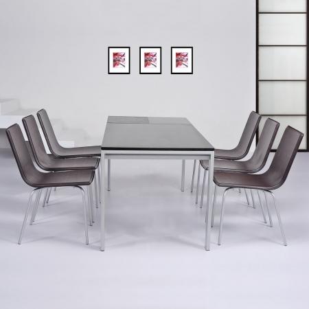 Stuhl VIENA Braun aus Kunstleder - 2