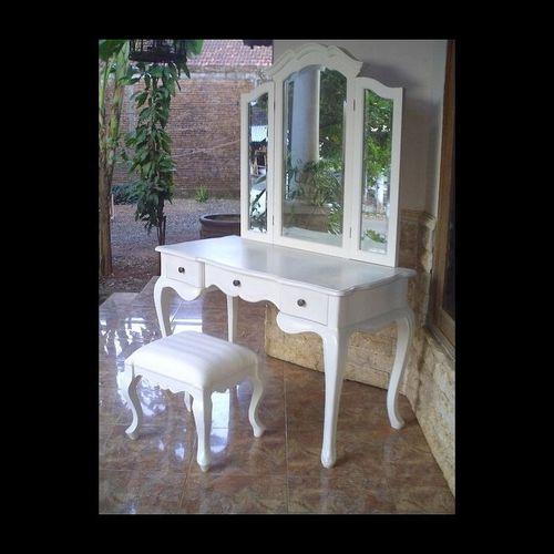 Mahagoni Frisiertisch CHIARA Weiß inkl. 3er Spiegel & Hocker 120cm - 1