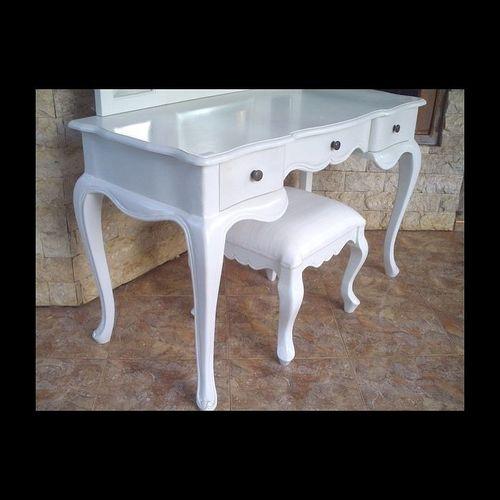 Mahagoni Frisiertisch CHIARA Weiß inkl. 3er Spiegel & Hocker 120cm - 2
