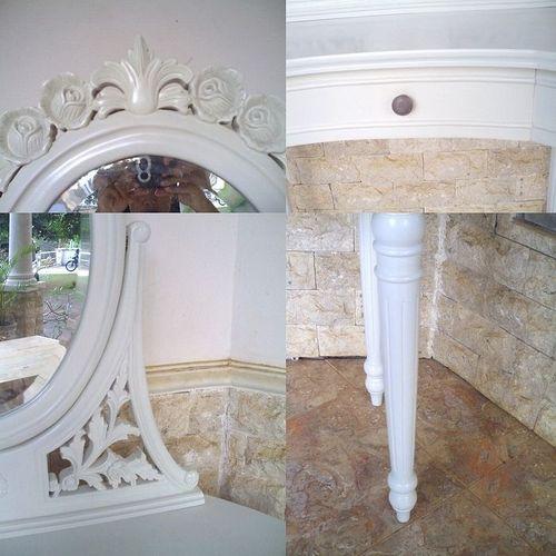 Mahagoni Frisiertisch CARMEN Weiß inkl. Spiegel & Hocker 110cm - 4