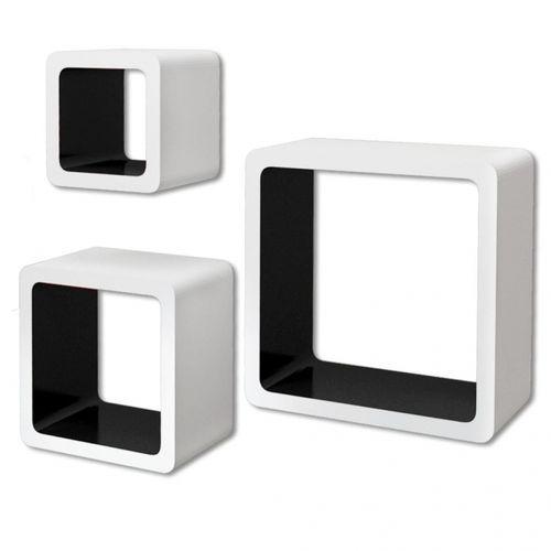 3er Set Wandcuben VEGAS Weiß-Schwarz Quadratisch mit stylisch abgerundeten Ecken 23/18/13cm - 3