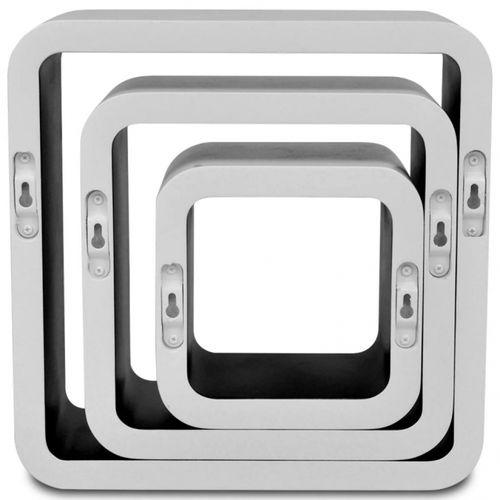 3er Set Wandcuben VEGAS Weiß-Schwarz Quadratisch mit stylisch abgerundeten Ecken 23/18/13cm - 5