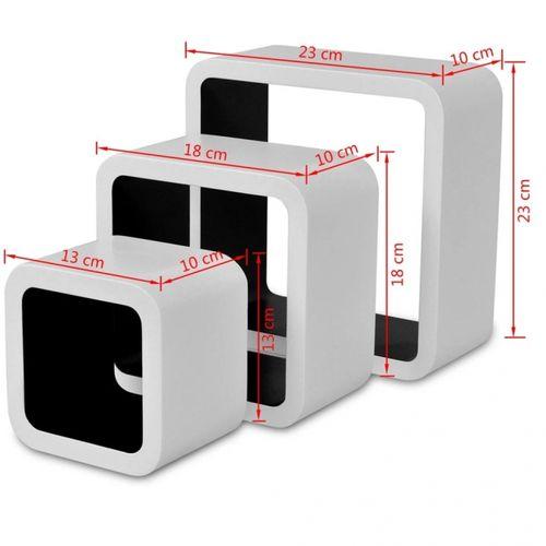 3er Set Wandcuben VEGAS Weiß-Schwarz Quadratisch mit stylisch abgerundeten Ecken 23/18/13cm - 6