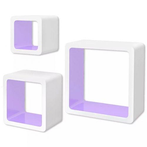 3er Set Wandcuben VEGAS Weiß-Lila Quadratisch mit stylisch abgerundeten Ecken 23/18/13cm - 3
