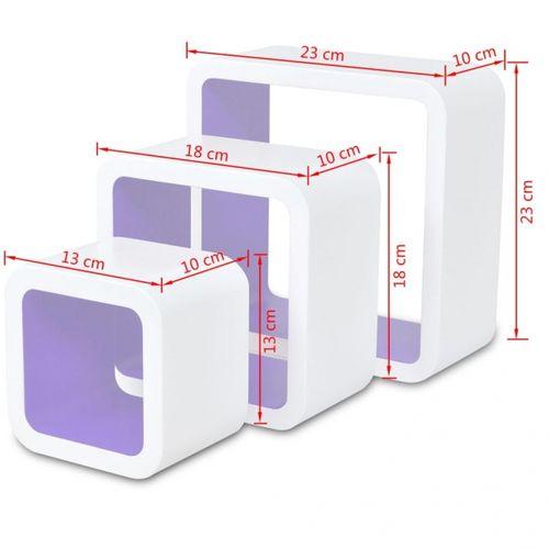 3er Set Wandcuben VEGAS Weiß-Lila Quadratisch mit stylisch abgerundeten Ecken 23/18/13cm - 6