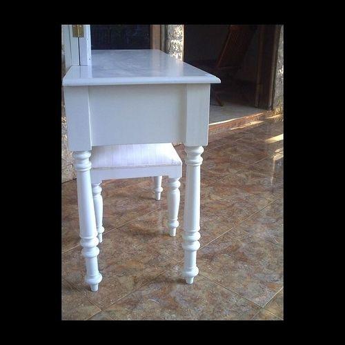 Mahagoni Frisiertisch CHINTYA Weiß inkl. 3er Spiegel & Hocker 120cm - 2