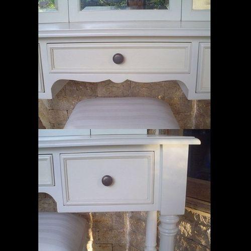 Mahagoni Frisiertisch CHINTYA Weiß inkl. 3er Spiegel & Hocker 120cm - 4