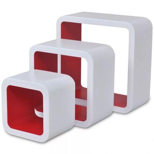 3er Set Wandcuben VEGAS Weiß-Rot Quadratisch mit stylisch abgerundeten Ecken 23/18/13cm - 1