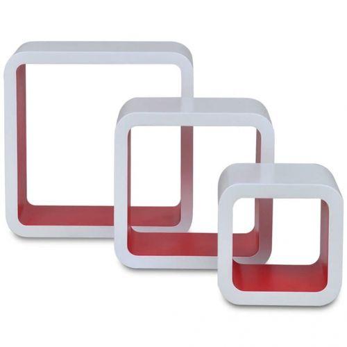 3er Set Wandcuben VEGAS Weiß-Rot Quadratisch mit stylisch abgerundeten Ecken 23/18/13cm - 2