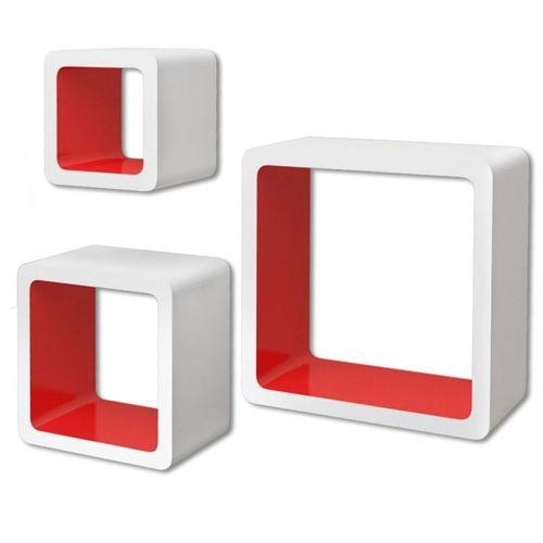 3er Set Wandcuben VEGAS Weiß-Rot Quadratisch mit stylisch abgerundeten Ecken 23/18/13cm - 3