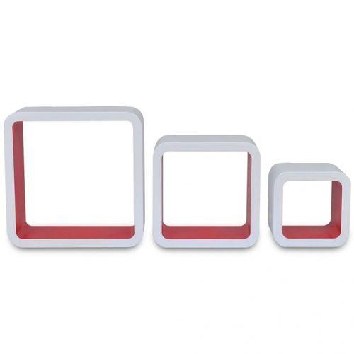 3er Set Wandcuben VEGAS Weiß-Rot Quadratisch mit stylisch abgerundeten Ecken 23/18/13cm - 4