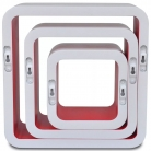 3er Set Wandcuben VEGAS Weiß-Rot Quadratisch mit stylisch abgerundeten Ecken 23/18/13cm - 5