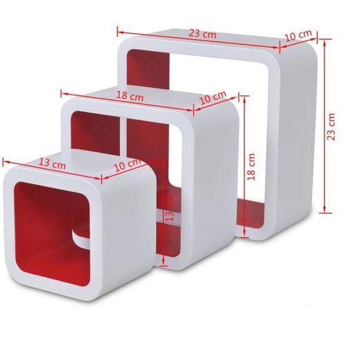 3er Set Wandcuben VEGAS Weiß-Rot Quadratisch mit stylisch abgerundeten Ecken 23/18/13cm - 6