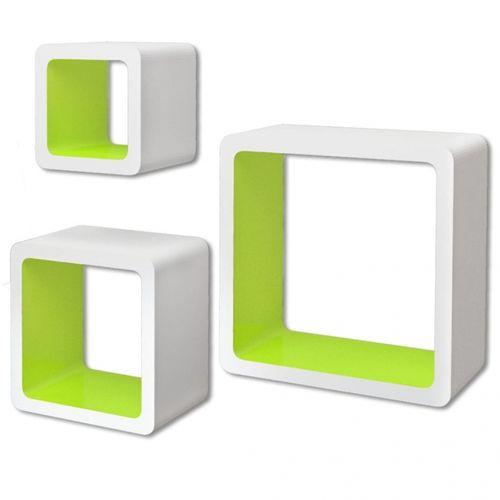 3er Set Wandcuben VEGAS Weiß-Grün Quadratisch mit stylisch abgerundeten Ecken 23/18/13cm - 2