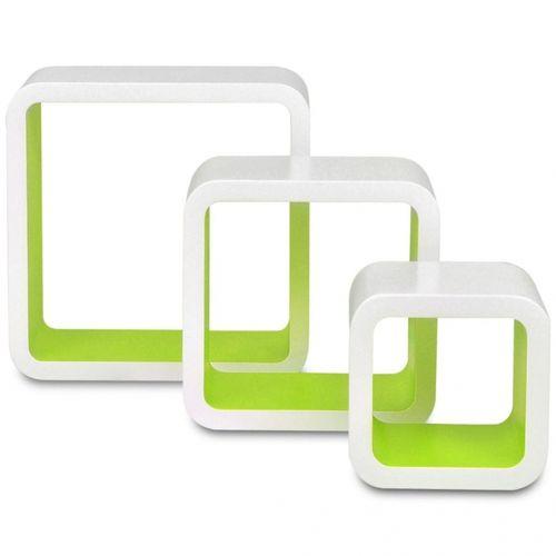 3er Set Wandcuben VEGAS Weiß-Grün Quadratisch mit stylisch abgerundeten Ecken 23/18/13cm - 3