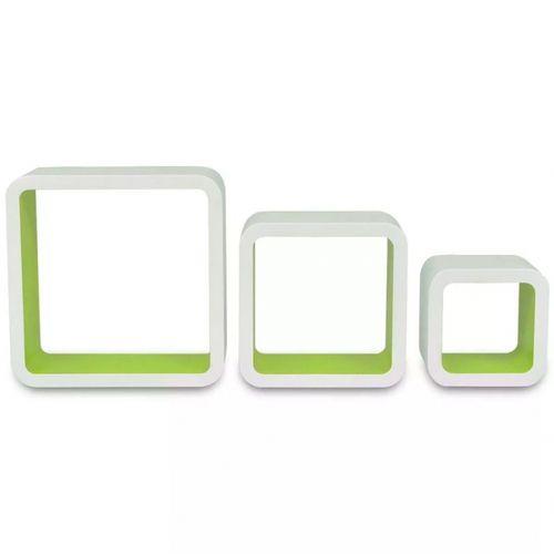 3er Set Wandcuben VEGAS Weiß-Grün Quadratisch mit stylisch abgerundeten Ecken 23/18/13cm - 4