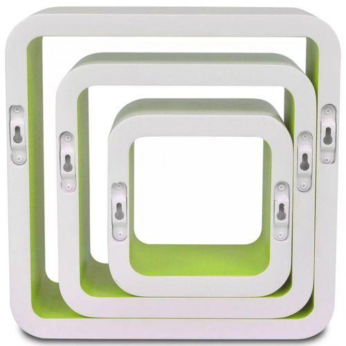 3er Set Wandcuben VEGAS Weiß-Grün Quadratisch mit stylisch abgerundeten Ecken 23/18/13cm - 5