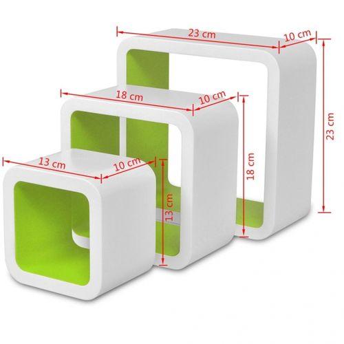 3er Set Wandcuben VEGAS Weiß-Grün Quadratisch mit stylisch abgerundeten Ecken 23/18/13cm - 6