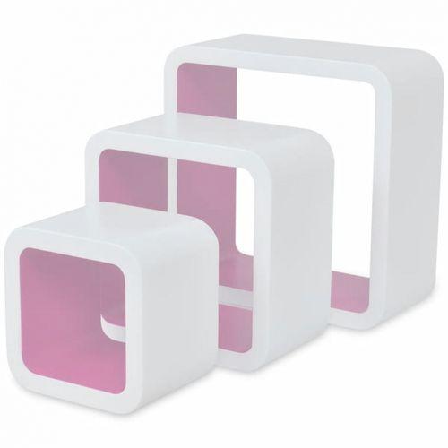 3er Set Wandcuben VEGAS Weiß-Rosa Quadratisch mit stylisch abgerundeten Ecken 23/18/13cm - 1