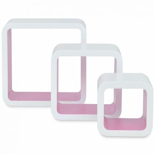 3er Set Wandcuben VEGAS Weiß-Rosa Quadratisch mit stylisch abgerundeten Ecken 23/18/13cm - 2