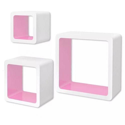 3er Set Wandcuben VEGAS Weiß-Rosa Quadratisch mit stylisch abgerundeten Ecken 23/18/13cm - 3
