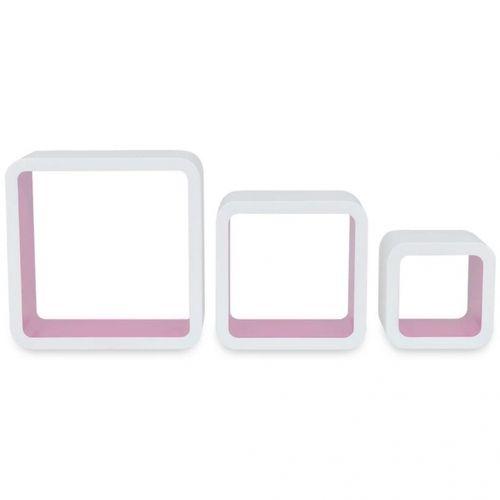 3er Set Wandcuben VEGAS Weiß-Rosa Quadratisch mit stylisch abgerundeten Ecken 23/18/13cm - 4