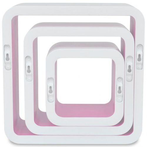 3er Set Wandcuben VEGAS Weiß-Rosa Quadratisch mit stylisch abgerundeten Ecken 23/18/13cm - 5