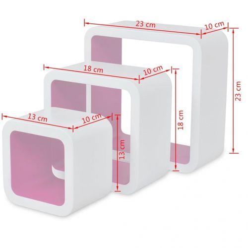 3er Set Wandcuben VEGAS Weiß-Rosa Quadratisch mit stylisch abgerundeten Ecken 23/18/13cm - 6