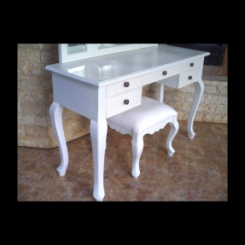 Mahagoni Frisiertisch GIA Weiß inkl. 3er Spiegel & Hocker 120cm - 1