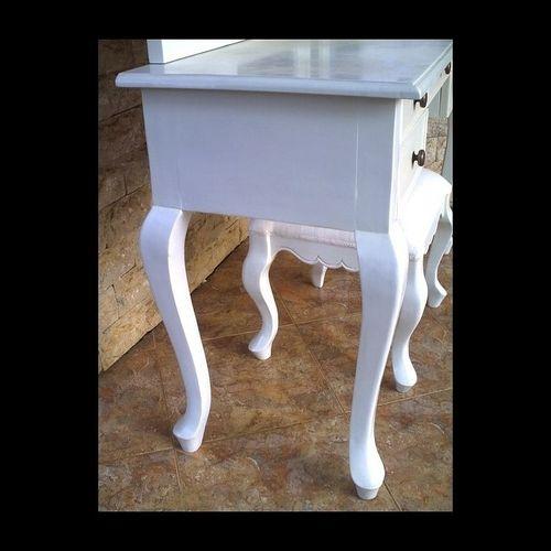 Mahagoni Frisiertisch GIA Weiß inkl. 3er Spiegel & Hocker 120cm - 2