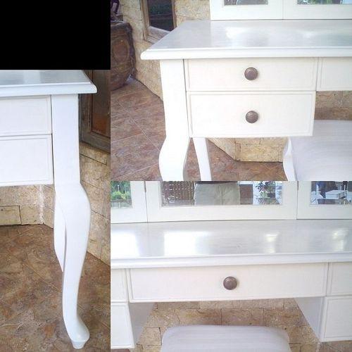 Mahagoni Frisiertisch GIA Weiß inkl. 3er Spiegel & Hocker 120cm - 4