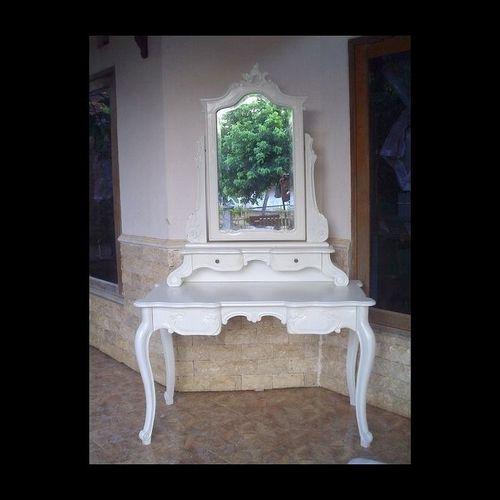 Mahagoni Frisiertisch JADE Weiß inkl. Spiegel & Hocker 120cm - 1