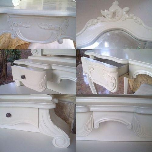 Mahagoni Frisiertisch JADE Weiß inkl. Spiegel & Hocker 120cm - 4