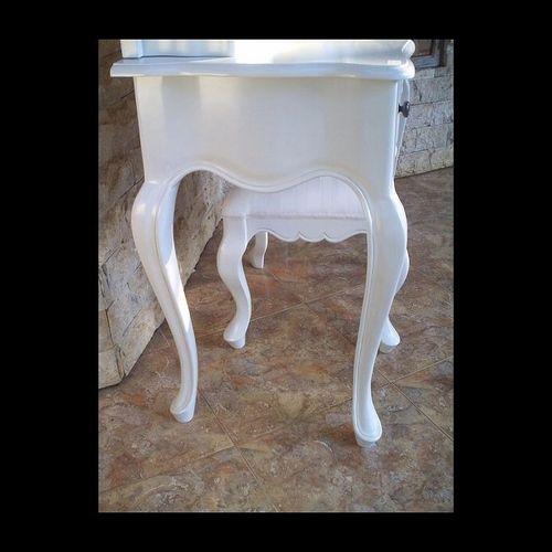 Mahagoni Frisiertisch JOSEPHINE Weiß inkl. Spiegel & Hocker 110cm - 2