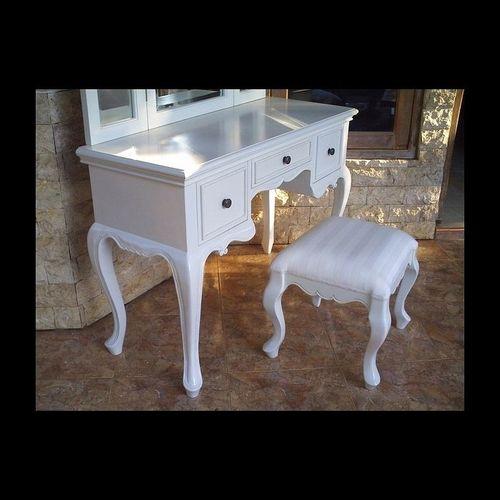 Mahagoni Frisiertisch LIA Weiß inkl. 3er Spiegel & Hocker 110cm - 2
