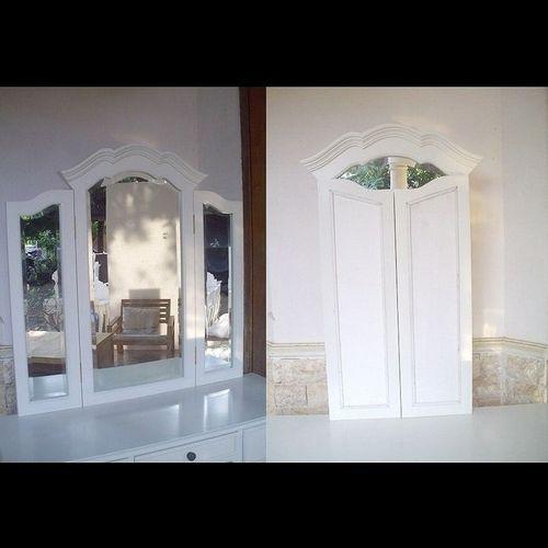 Mahagoni Frisiertisch LIA Weiß inkl. 3er Spiegel & Hocker 110cm - 3
