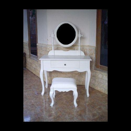 Mahagoni Frisiertisch LOUISA Weiß inkl. Spiegel & Hocker 100cm - 1