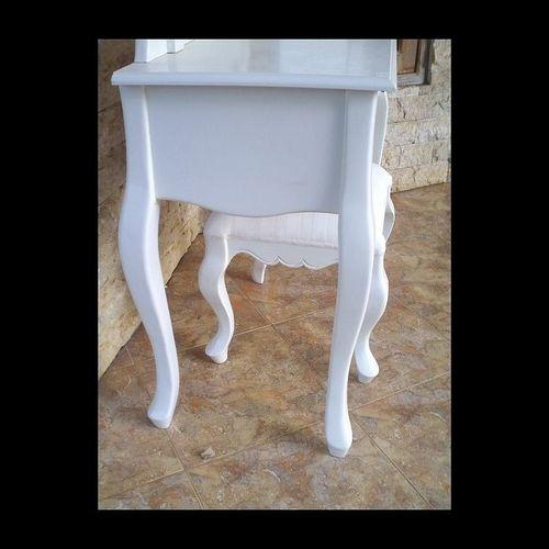 Mahagoni Frisiertisch LOUISA Weiß inkl. Spiegel & Hocker 100cm - 2
