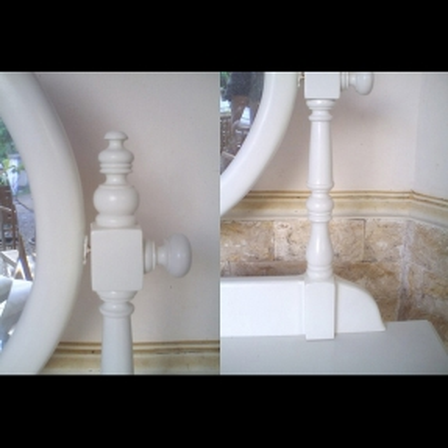 Mahagoni Frisiertisch LOUISA Weiß inkl. Spiegel & Hocker 100cm - 4