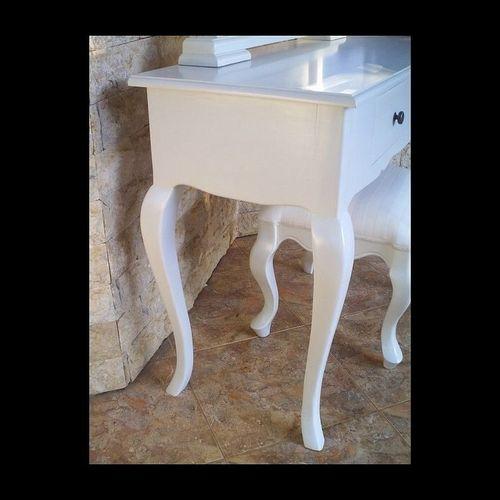 Mahagoni Frisiertisch SCARLET Weiß inkl. Spiegel & Hocker 115cm - 2