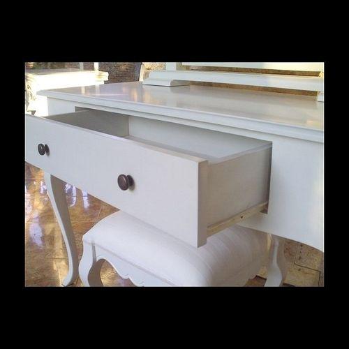 Mahagoni Frisiertisch SCARLET Weiß inkl. Spiegel & Hocker 115cm - 3