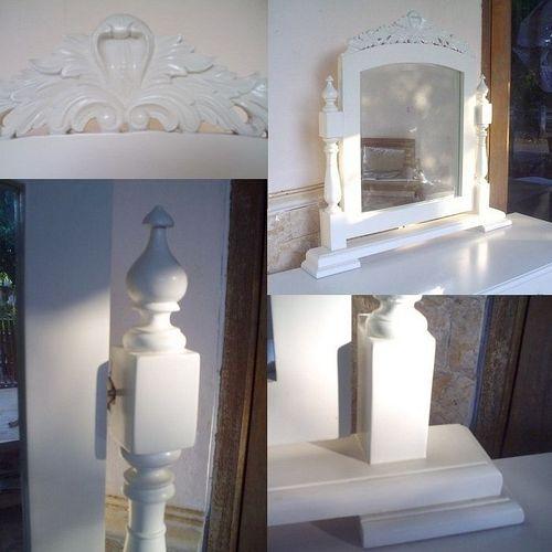 Mahagoni Frisiertisch SCARLET Weiß inkl. Spiegel & Hocker 115cm - 4